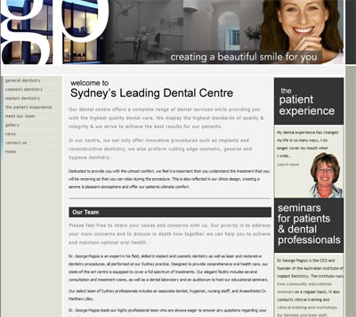 Website for dental cosmetic clinic