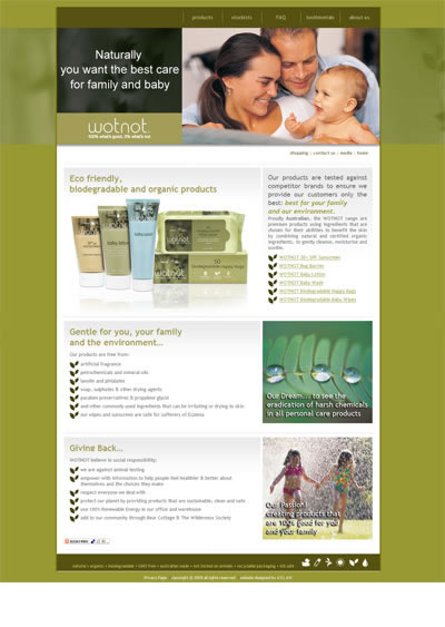 Organic baby & family products website