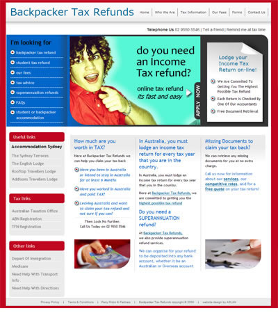 Online tax specialist for backpackers and OS students