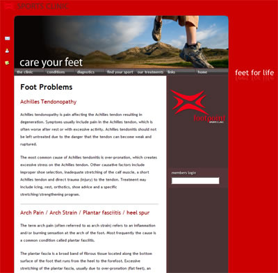 Website for a group of podiatry clinics 2. internal page